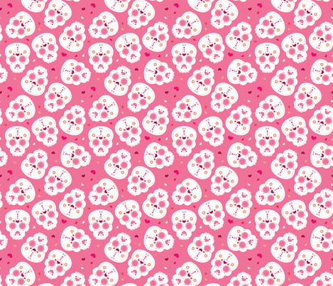 Mexican Sugar Skulls Dia De Los Muertos Skull Halloween Pink Girls Fabric Surface Design By