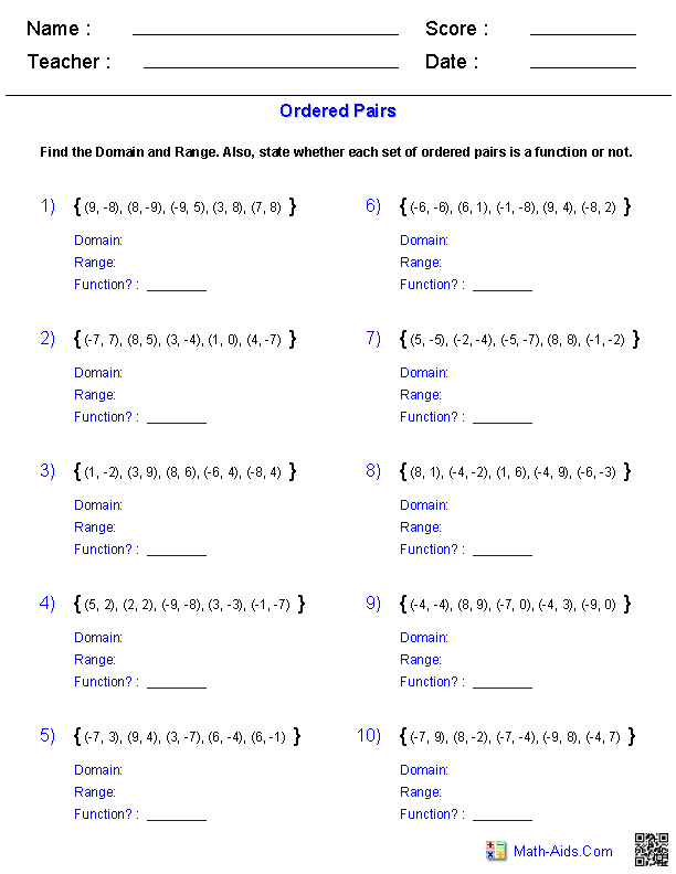 Identifying Functions From Ordered Pairs Worksheets Algebra