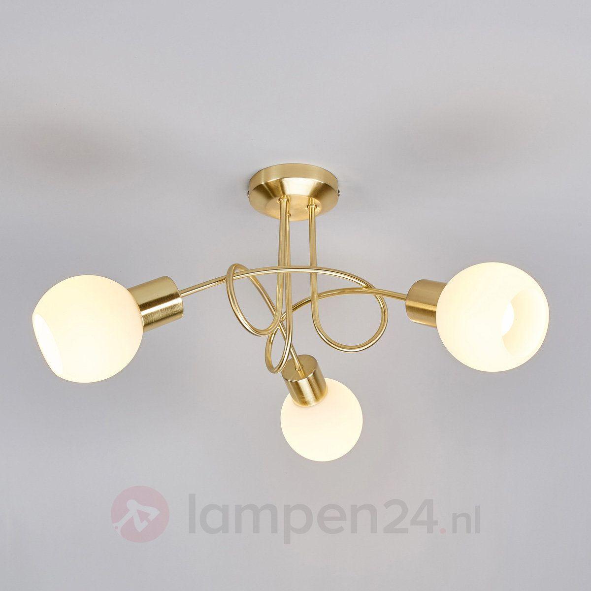 Messingkleurige Led Plafondlamp Elaina 3 Lichts 9620030 Plafondlamp Plafondverlichting Laag Plafond Verlichting