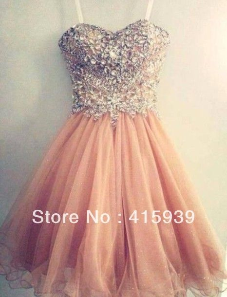 Real Photo Spaghetti Strap Short Crystal Prom Dress Coral