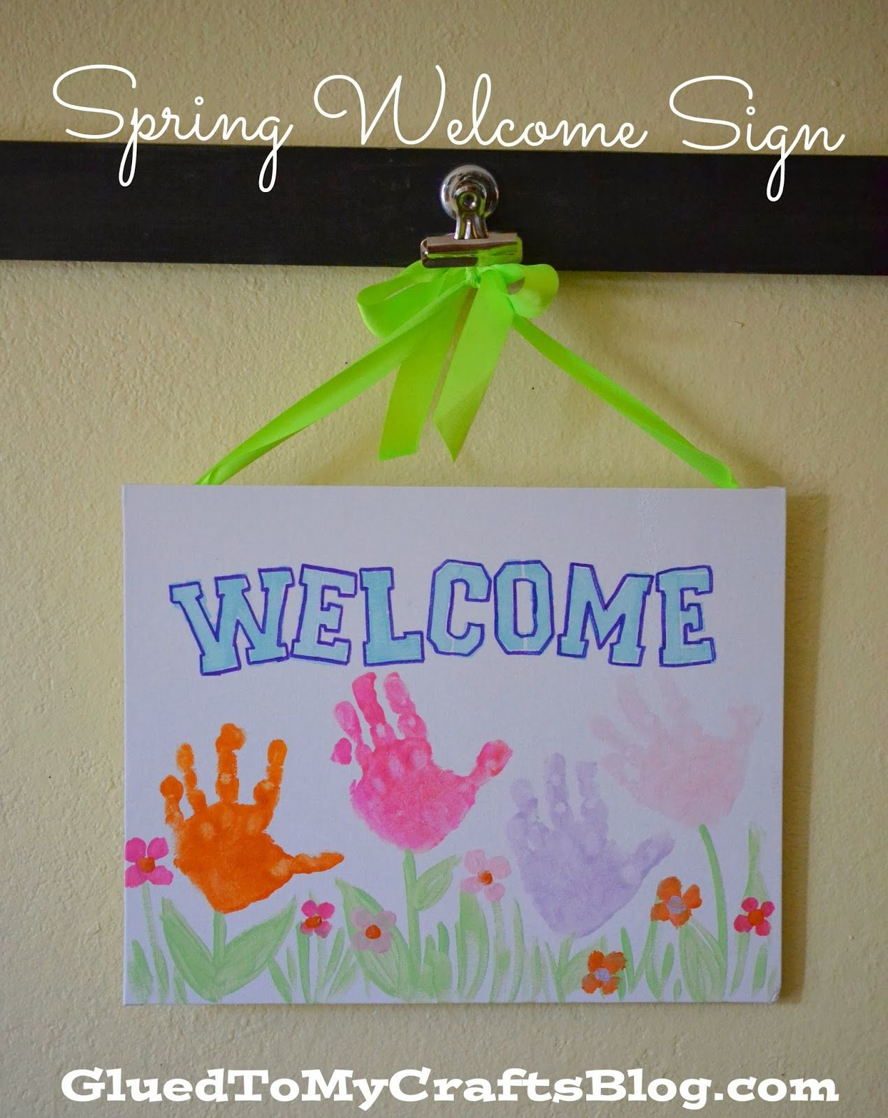 Painted Handprint Spring Welcome Sign Kid Craft Spring Toddler
