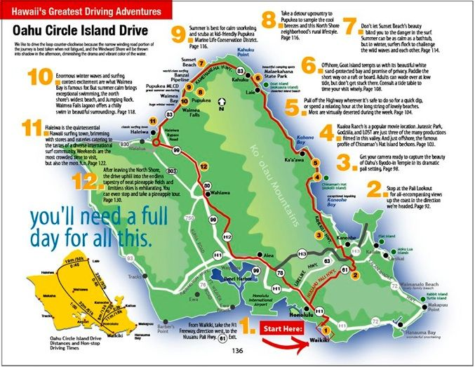 map design hawaii oahu driving tour copyright discoveringhawaii.com