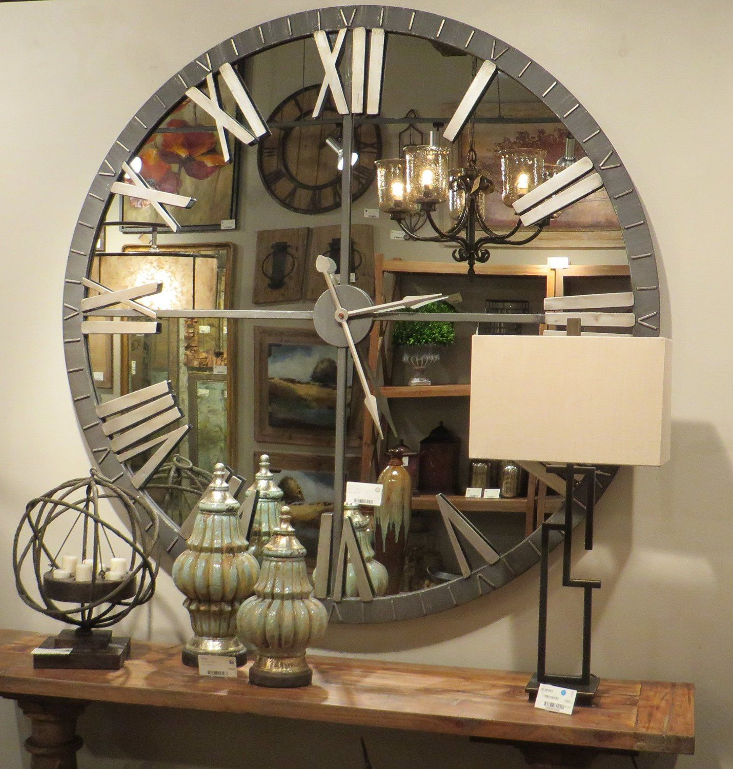 Large Bronze Metal Wall Clock With Mirrored Face Xl 60 Perfect