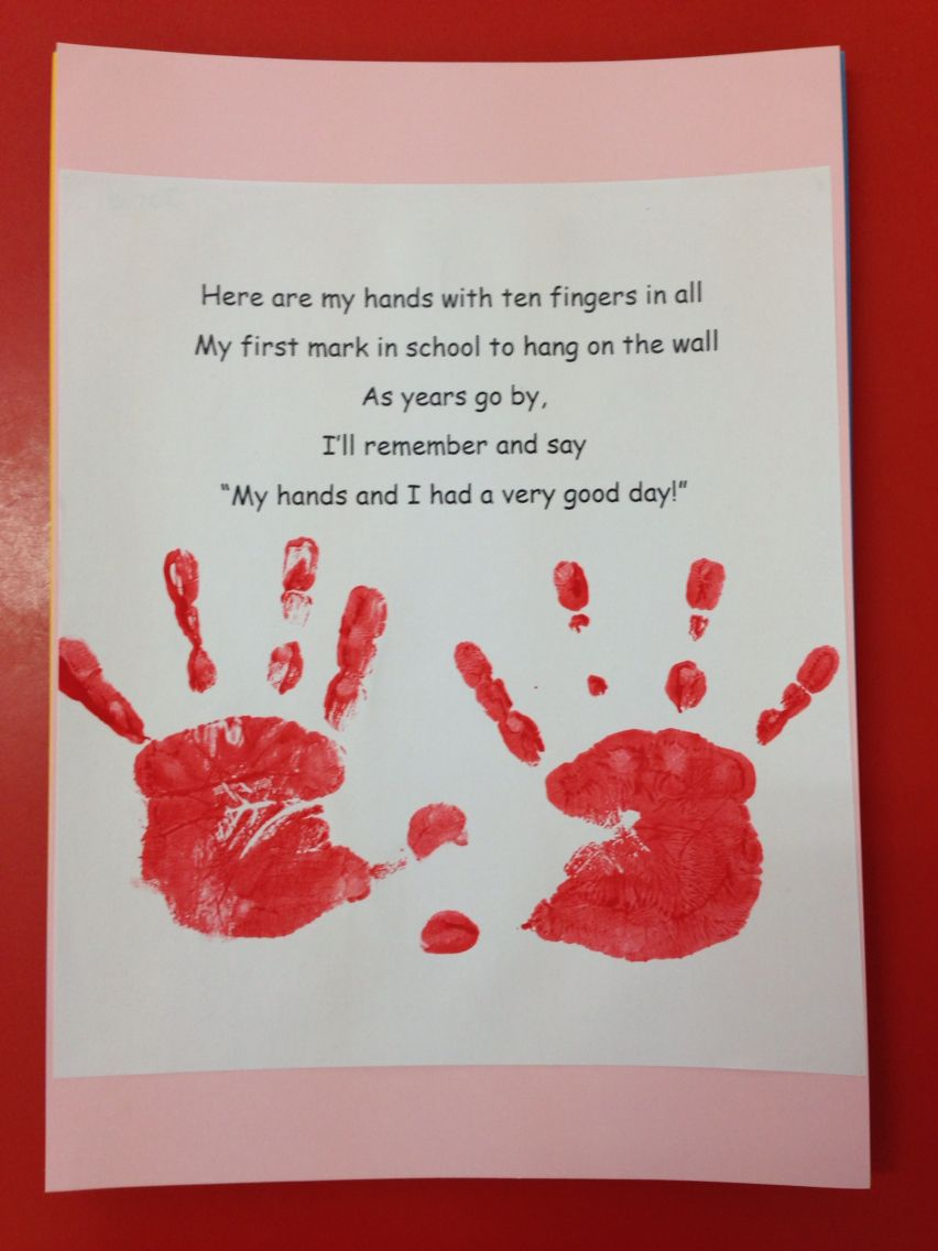 First day of school :) montessori preschool handprint craft ...