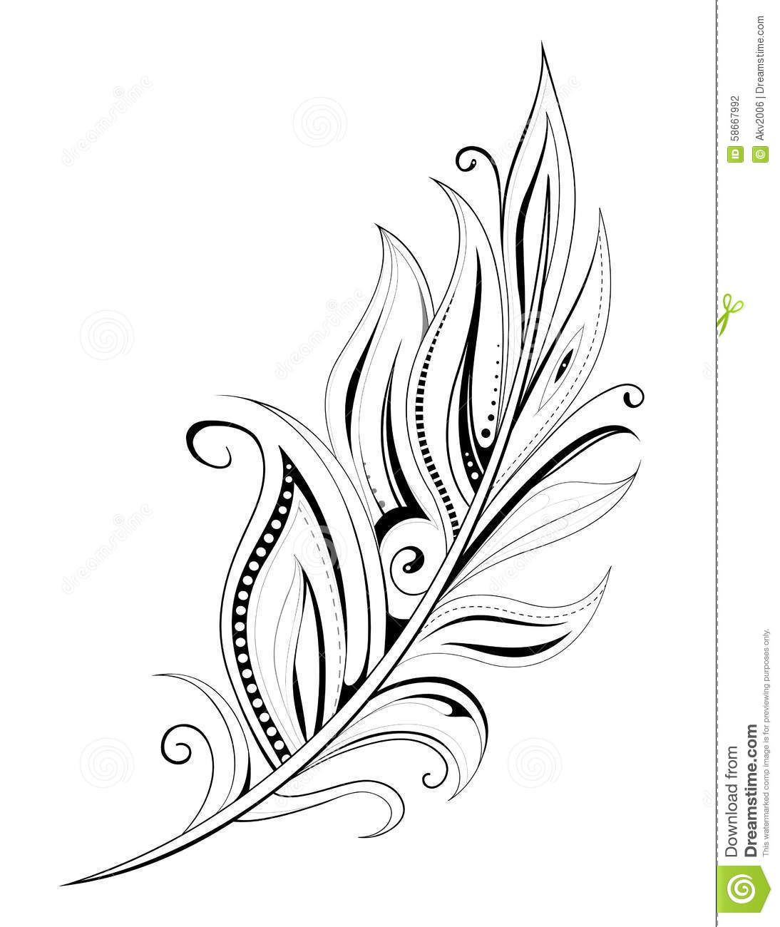 feather tattoo stock vector image 58667992 tattoo. Black Bedroom Furniture Sets. Home Design Ideas
