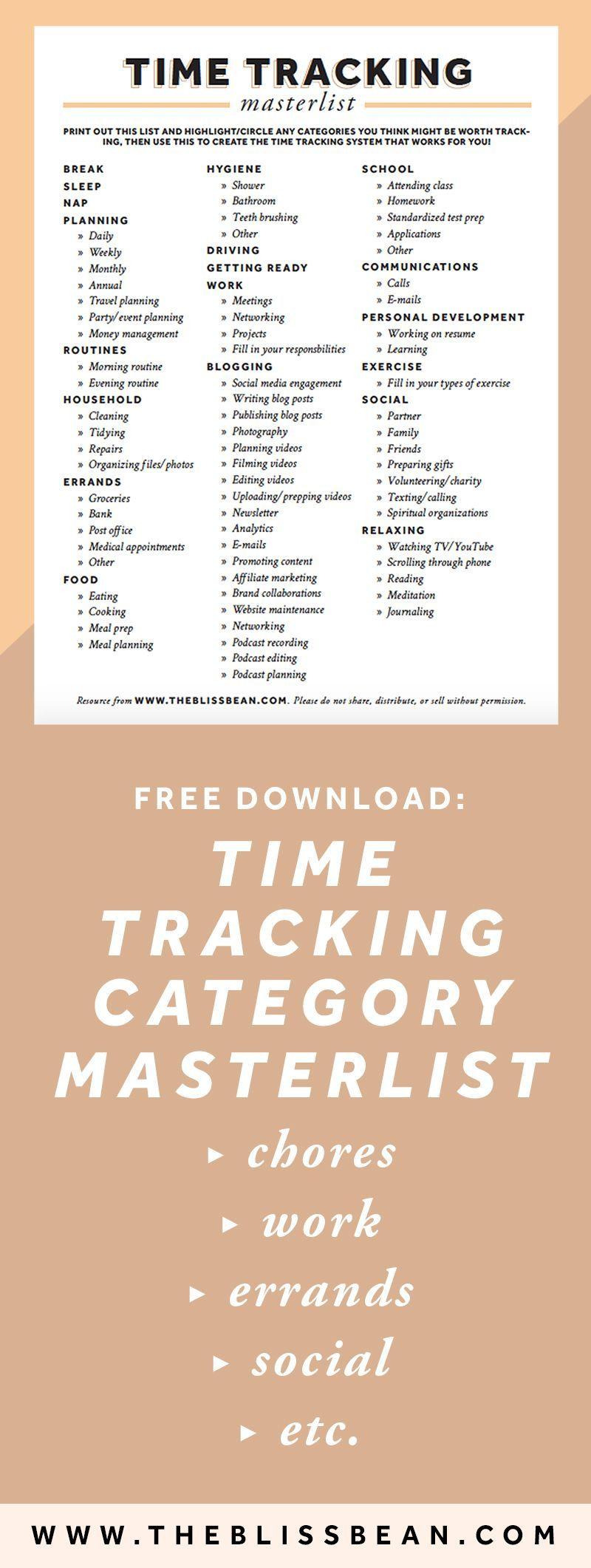 Time Tracking Free Printable Downloadable Pdf Resource List Worksheet Work Life Balance Time Management Techniques Time Management Tips Pomodoro Technique
