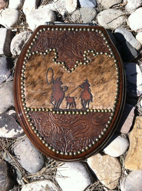 Team Roper Western Leather And Cowhide Toilet Seat