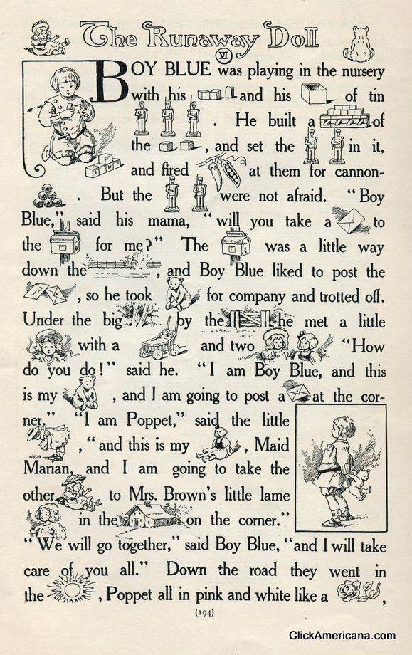 Rebus story: The Runaway Doll (1908   Pinterest