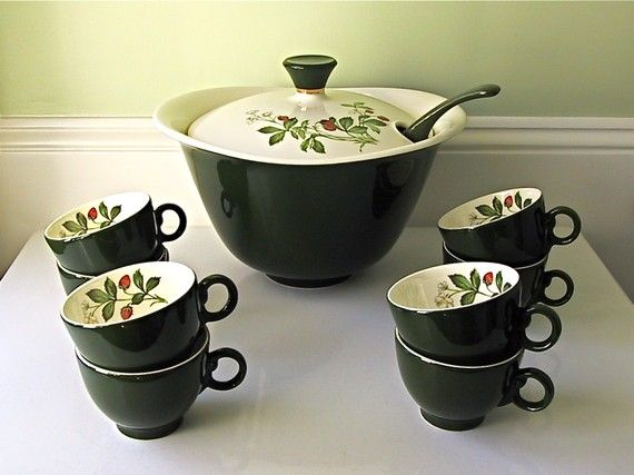 Vintage Punch Bowl Cups And Ladle 1960s Ceramic Punch Bowl Cups Punch Bowls Punch Bowl Set