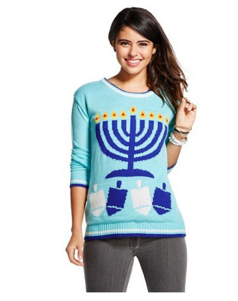Chanukahhanukkah Ugly Blue Menorah Sweater Light Up Xhilaration