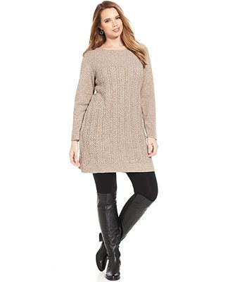 Style&co. Plus Size Cable-Knit Sweaterdress - Dresses - Plus Sizes - Macy's