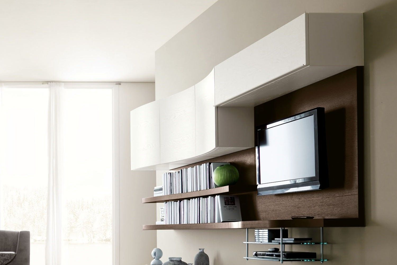 Porta Tv Cristallo Design.Parete Attrezzata Moderna Per Tv 529 Dettaglio Pannello Porta Tv