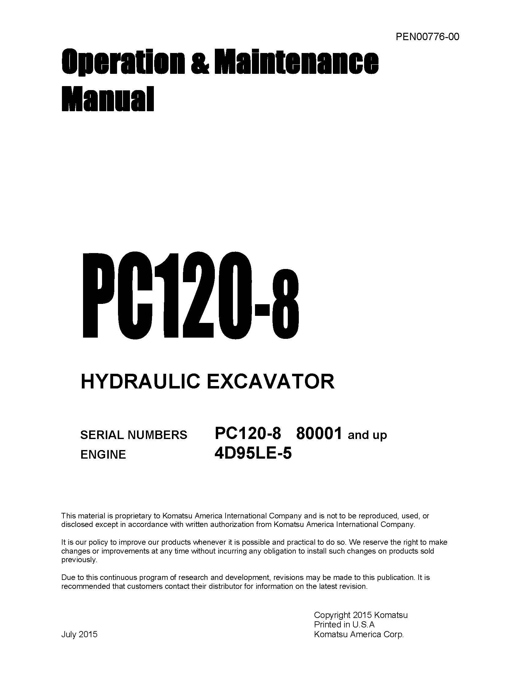 Komatsu Pc120 8 Operation Maintenance Manual Pdf Download Service Manual Repair Manual Pdf Download Operation And Maintenance Komatsu Repair Manuals