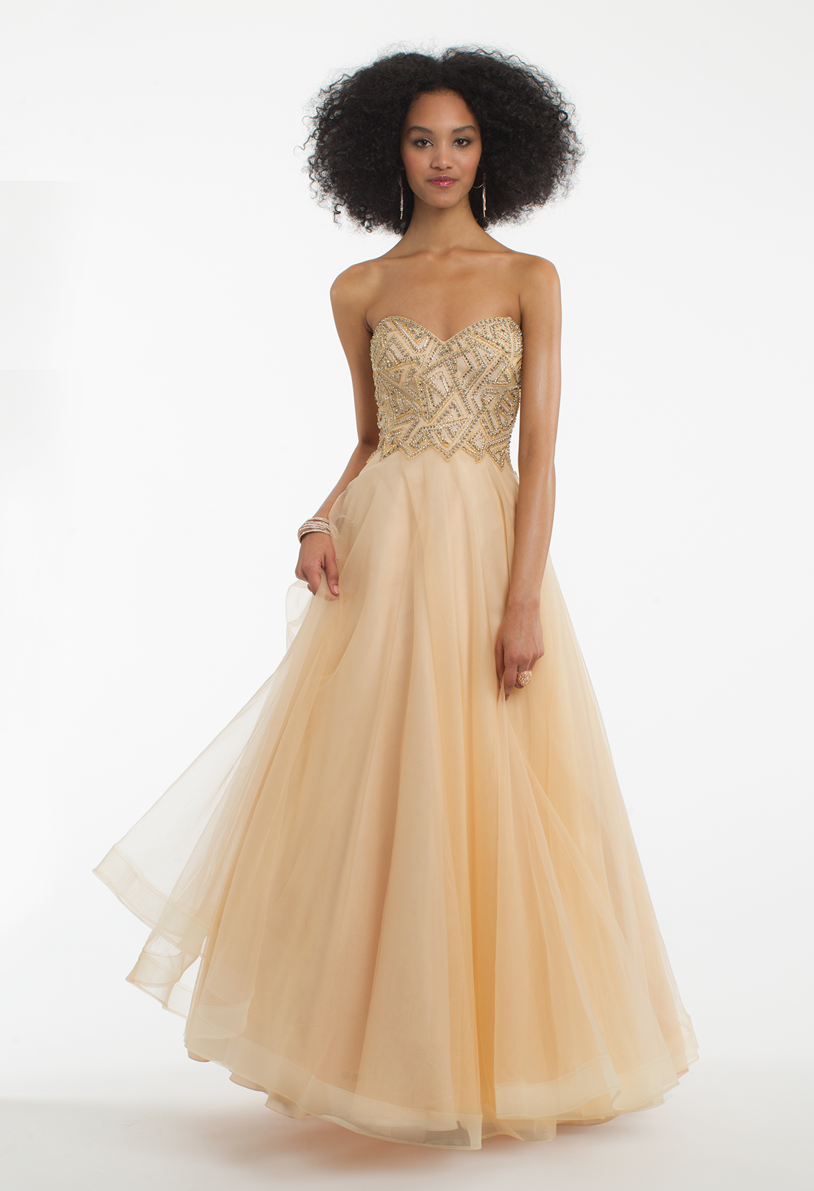Puzzle beaded tulle ball gown dress gold clutch prom night and