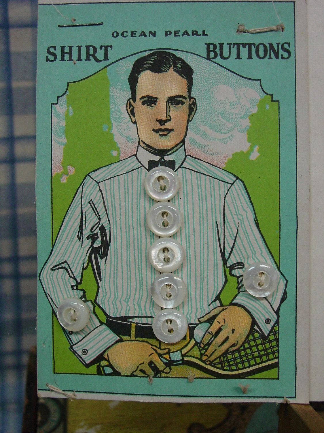 ButtonShop.ca - Salesman Sample Card c.1920's Two Cards Shirt Buttons, Great Graphics