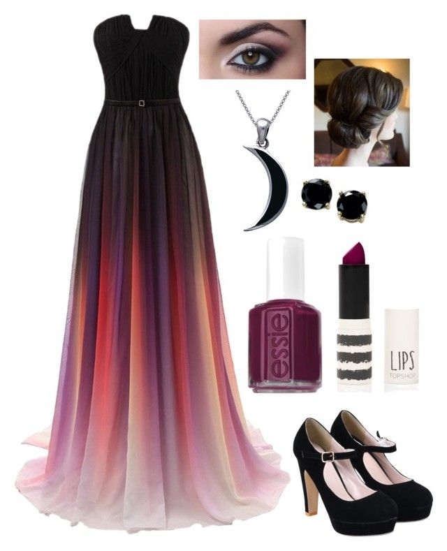 """Black and purple prom"" by lewiskate-1 on Polyvore featuring Carolina Glamour Collection, Essie, Topshop and B. Brilliant"