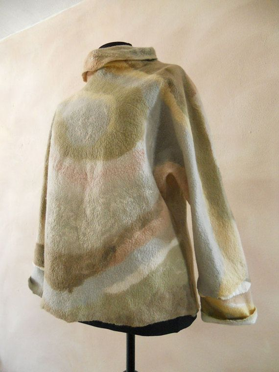 Nuno felted sweater with high collar Natural hand dyed by BuriFelt