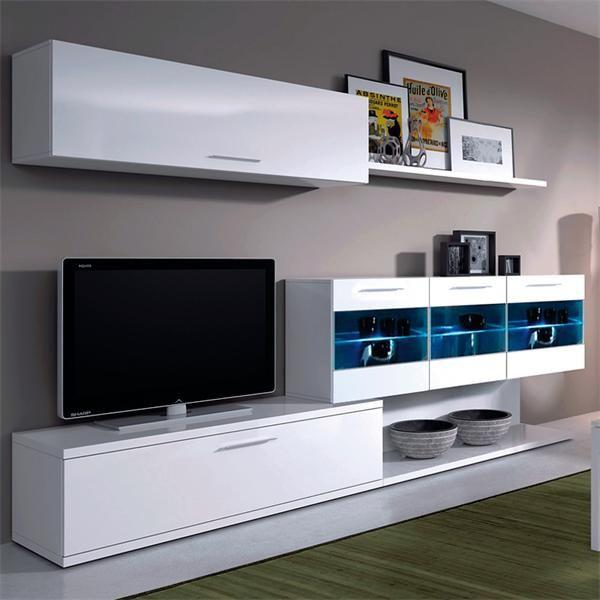 Tifon salon blanco leds barato ambiente boreal tv stand for Muebles modernos df