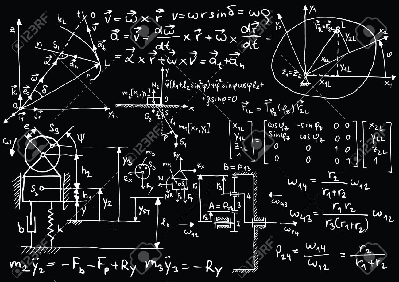 14180734 Blackboard With Mechanical Sketches And Formulas Stock