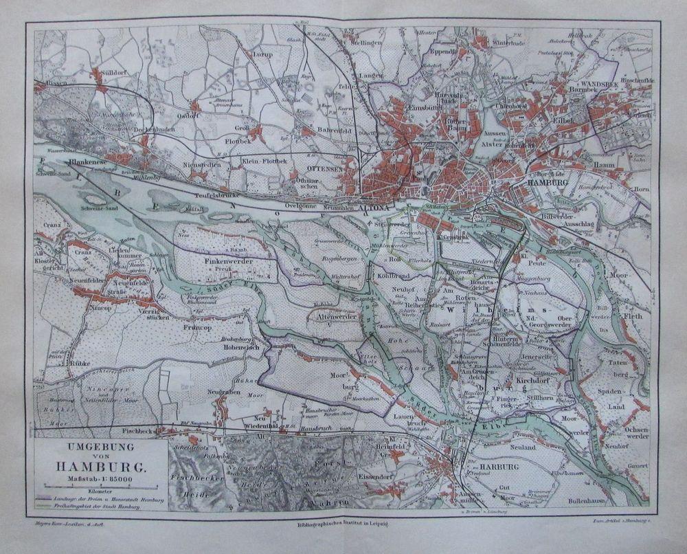 1888 Umgebung Von Hamburg Alte Landkarte Antique Map Lithographie