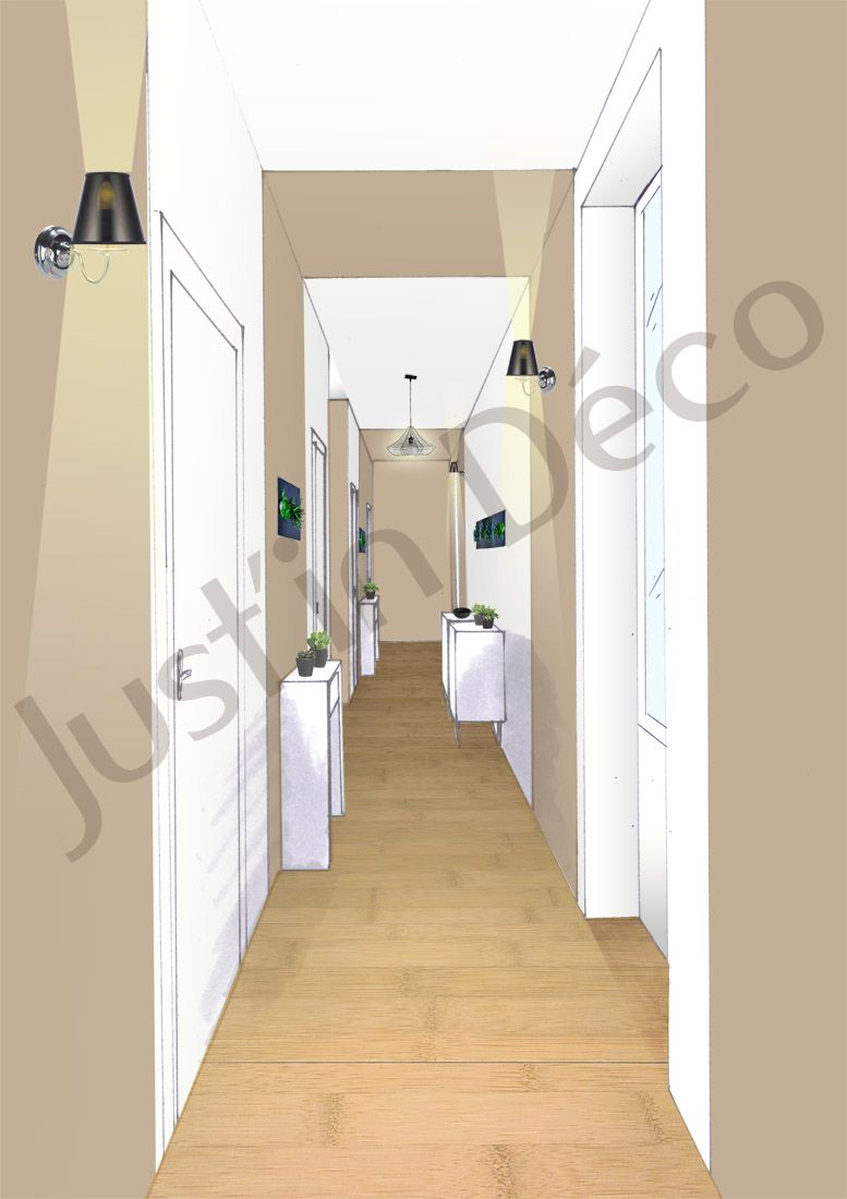 Couloir Couleur Taupe Et Lin vue couloir etage d'une bastide au bord de la mer rappel du