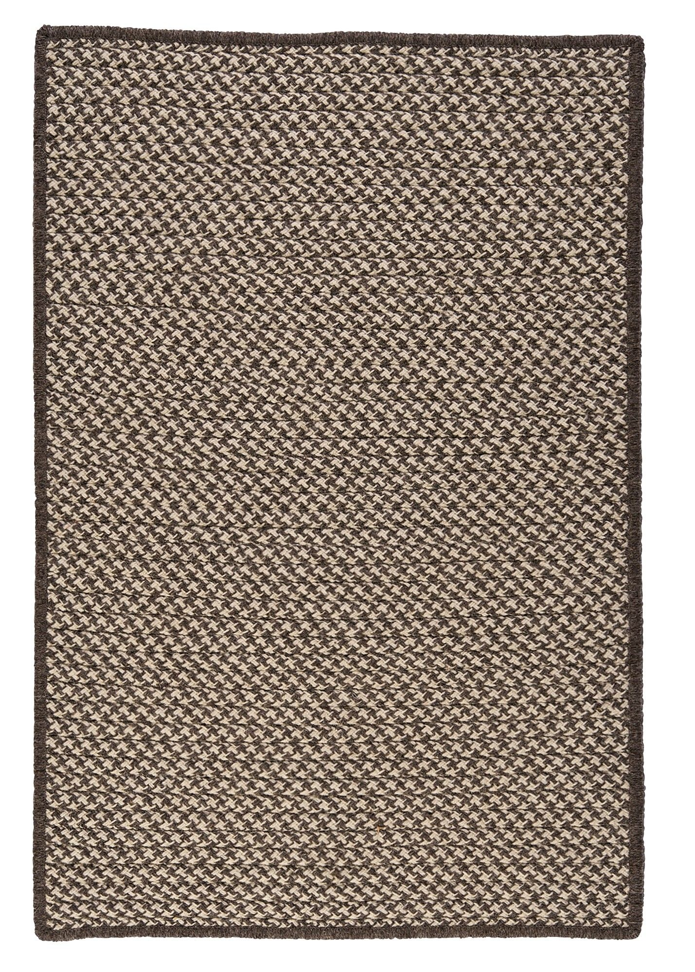 Natural Wool Houndstooth Braided Espresso Area Rug Area Rugs Braided Area Rugs Rugs