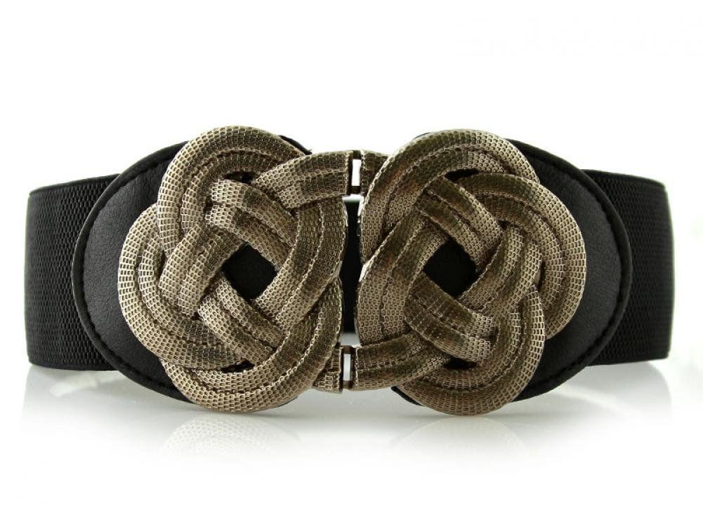 667a9034b9c3a Retro Wide Mental Interlock Buckle Womens Elastic Waist Belt Cinch at Amazon  Women's Clothing store: