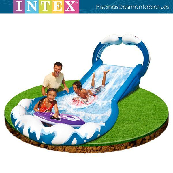 Tobog n hinchable rociar con agua la superficie para deslizarse con o sin las 2 tablas de surf - Hinchables de agua para piscinas ...