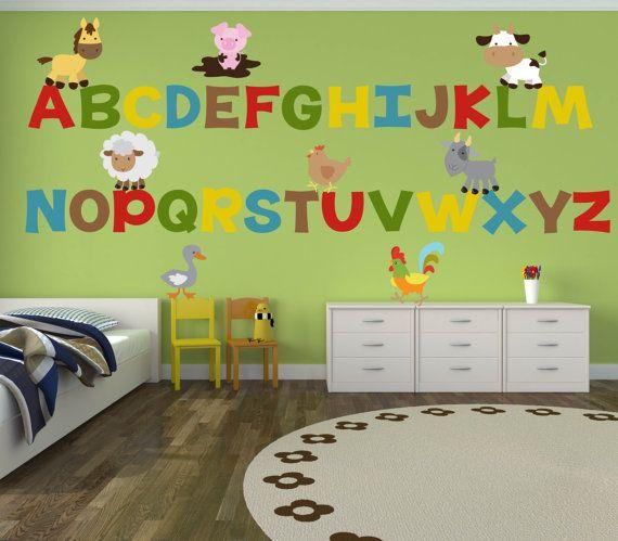 Alphabet Wall Decals Farm Wall Decals ABC Wall By YendoPrint
