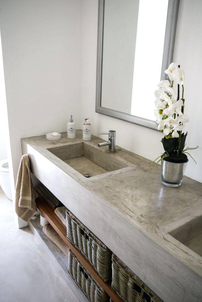 Concrete Bathroom Vanity Counter Installed By Farmhouse Sink Bathroom Vanity Concrete Look Bathroom Vani Bathroom Trends Cement Bathroom Modern Bathroom Trends