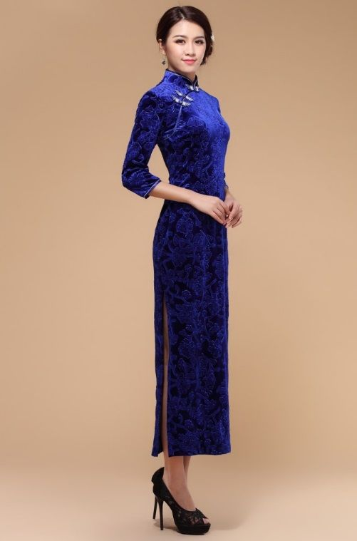 Traditional Chinese Dress Elegant Evening Qipao Blue Clique In Velvet 145 00