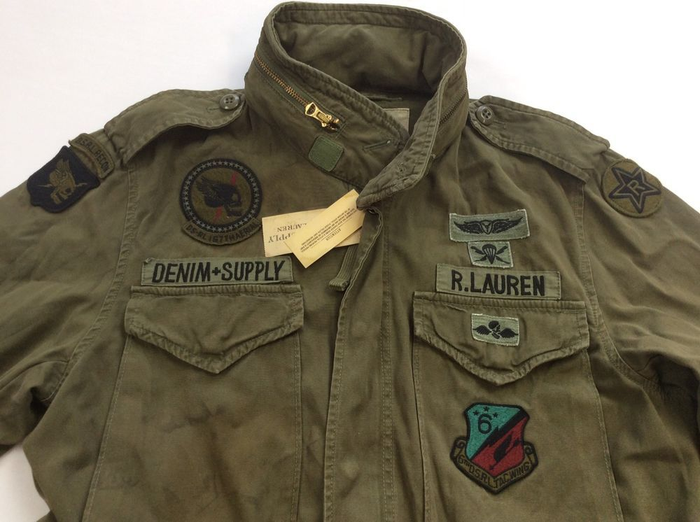 a097d717fd Denim  amp  Supply Ralph Lauren Men Military Army Skull Patches Field Coat  Jacket M