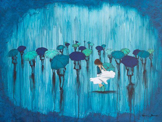 """Dance In The Rain"" 24""x36"" Acrylic on Panel by Kendra Baird Runnels  kendrastudios.com etsy.com/shop/KendraStudiosInc"