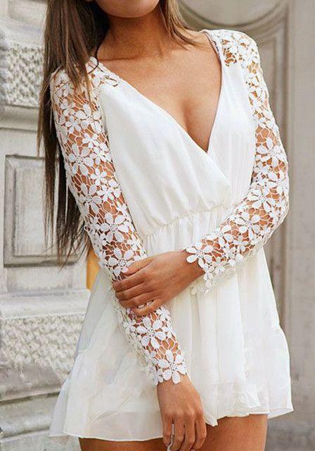 Crochet Floral White Romper - With Plunging V Neckline