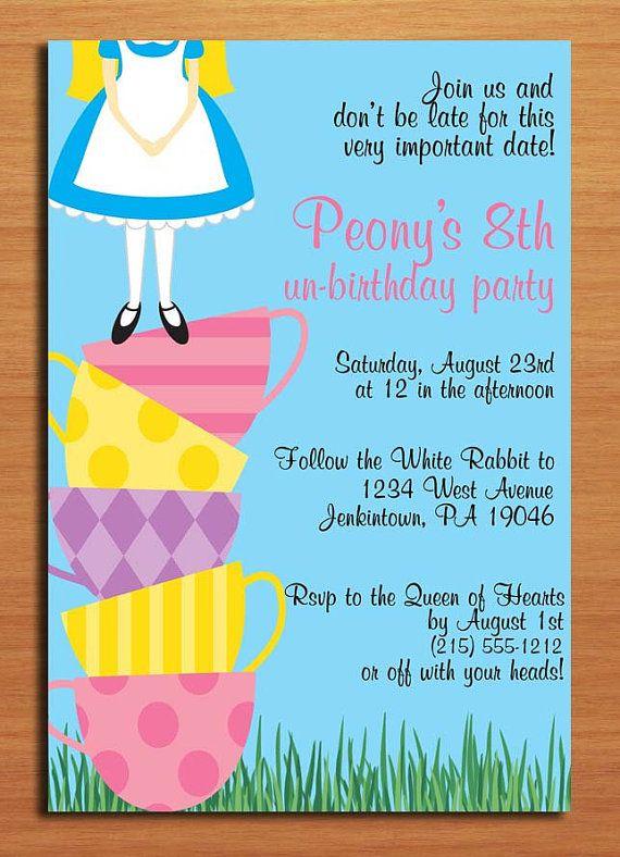Alice in Wonderland Teacup Tower UnBirthday Party Invitation – Unbirthday Party Invitations