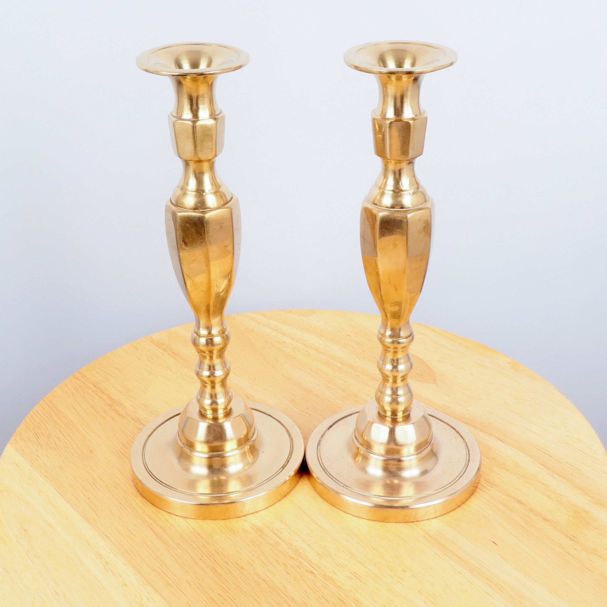 Vintage Set of Two Large Brass Candlestick Holders with Point