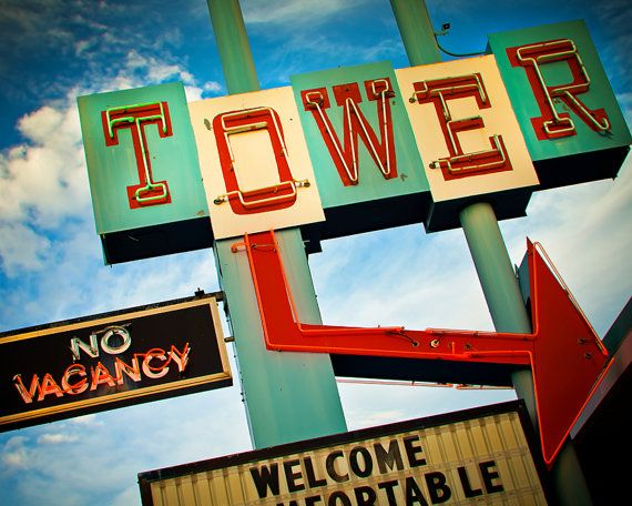 Tower Motel Vintage Neon Sign With Giant Arrow   Route 66 Home Decor    Retro Art   Santa Rosa New Mexico   8X10 Fine Art Print.