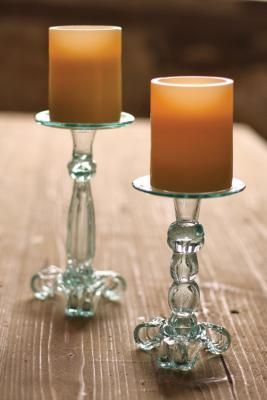 Colombian Recycled Glass Candle Holders S/2