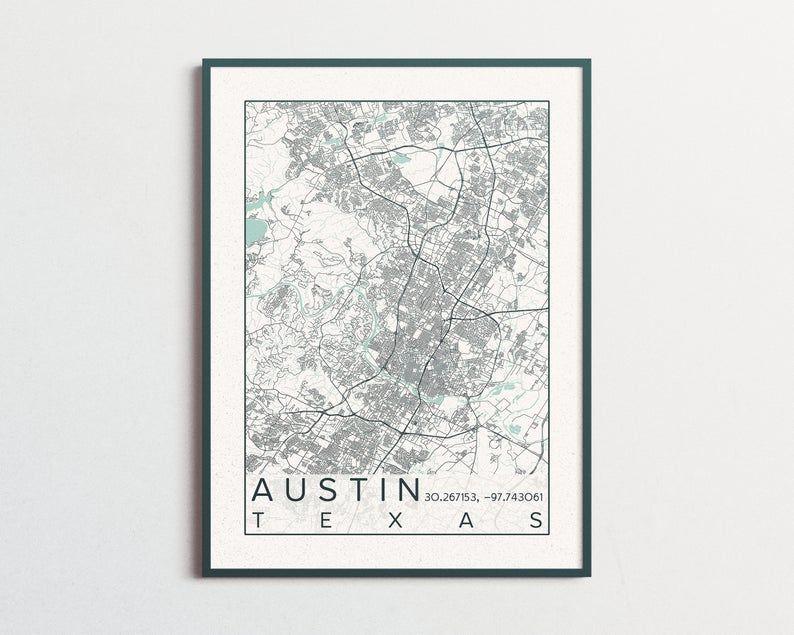 Austin City Map Print Poster Blue Green Austin Texas Longhorns
