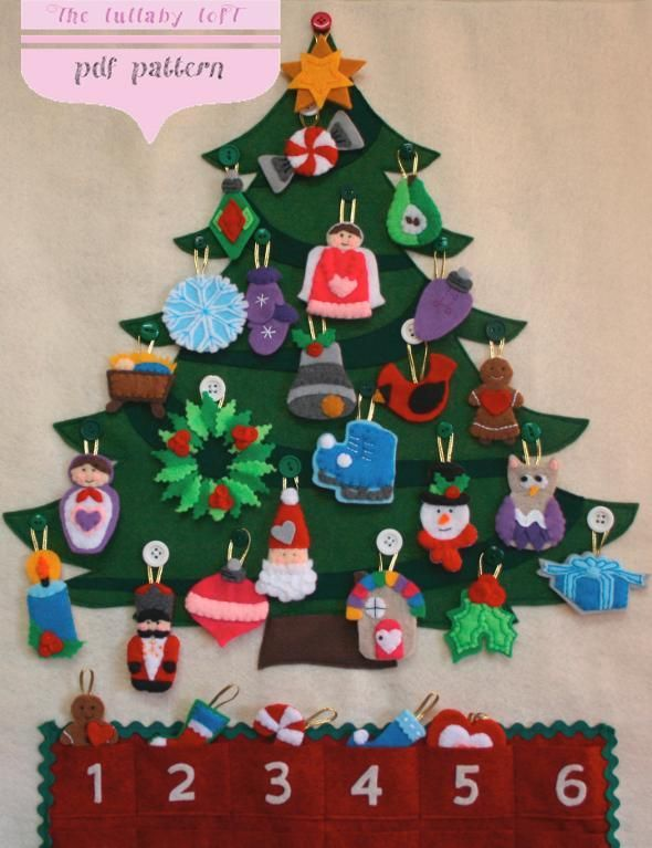 Christmas Tree By Thelullabyloft Sewing Pattern Christmas Tree Advent Calendar Felt Christmas Tree Advent Calendar Pattern