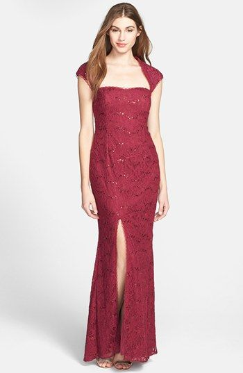 Hailey by Adrianna Papell Embellished Lace Gown (Online Only ...