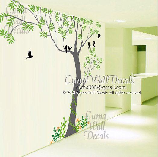 Tree Wall Decals Bird Wall Art Home Decors Flower Murals By Cuma - Wall decals grass
