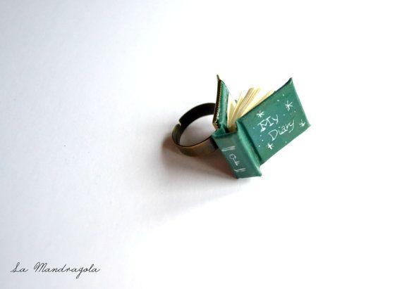 #Mini #Book #emerald #green #Ring My #Diary.  Adjustable di Mandragola, €9.00