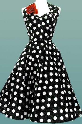526c468f515 Topvintage.nl Halter polka dot. 50s Retro halter Polka Dot Black White  swing dress cotton sateen Full Skirt ...