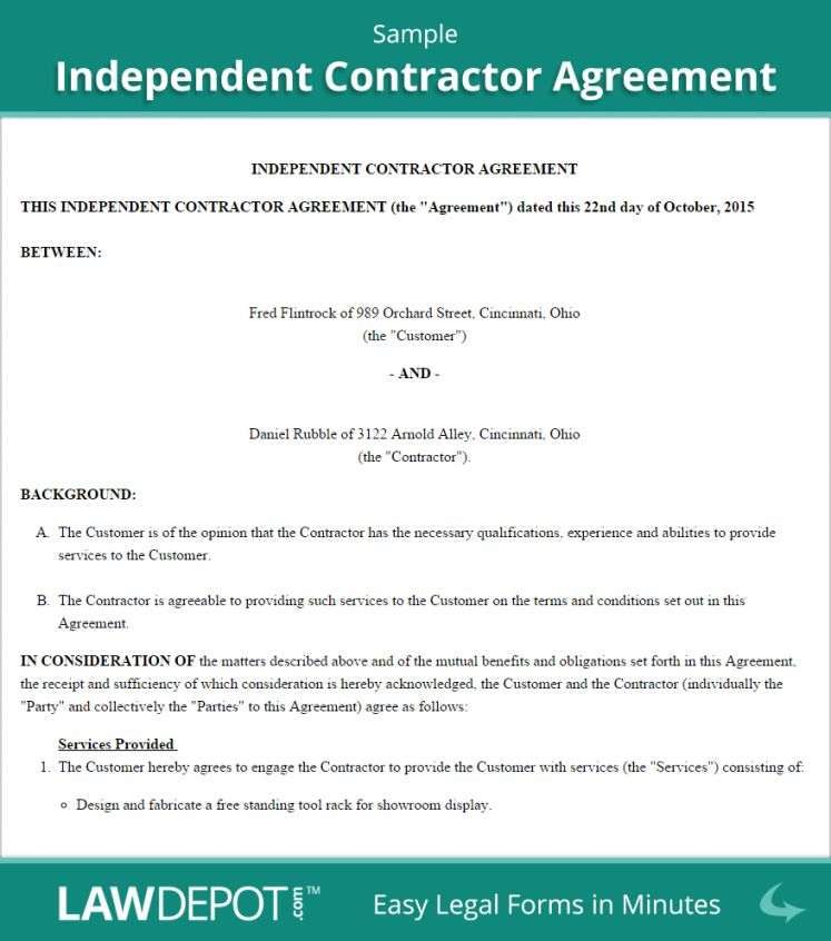 here the independent contractor agreement template (us