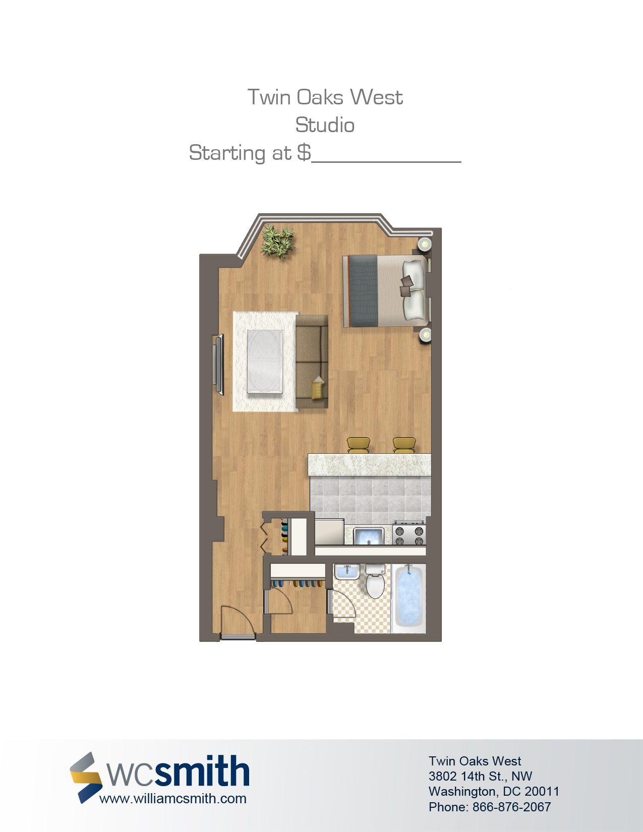Studio Efficiency Floor Plan Twin Oaks In Northwest Washington Dc Wc Smith Apartments Columbia Heights Rentals