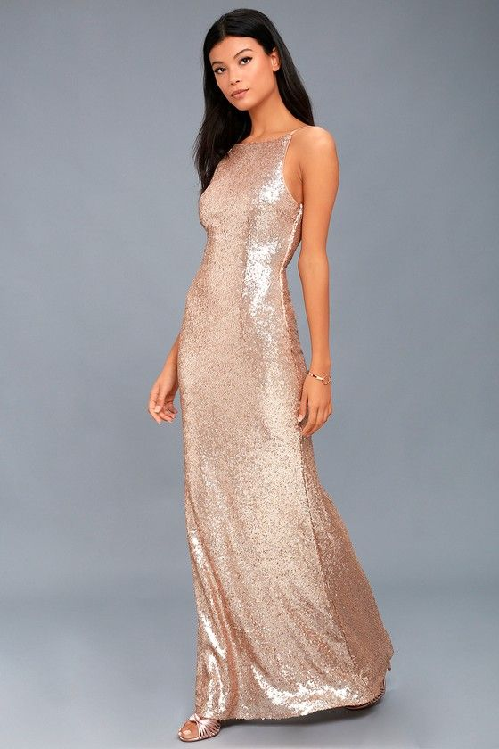 843828b12d5 You will be poppin  bottles all night in the Chic Celebration Champagne  Sequin Maxi Dress! Stunning sequins adorn this chic maxi dress.
