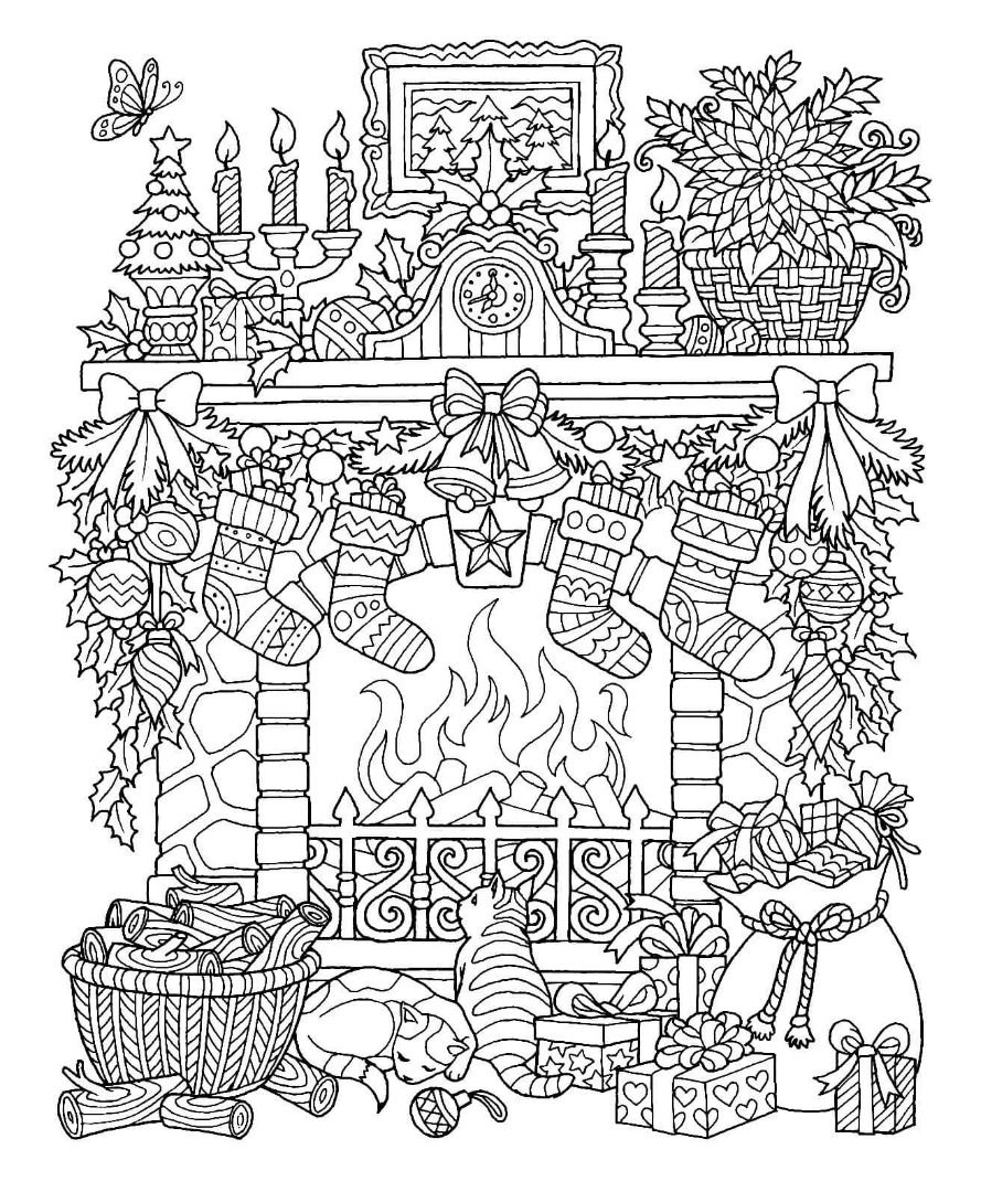 - Christmas Fireplace Coloring Page Christmas Coloring Sheets