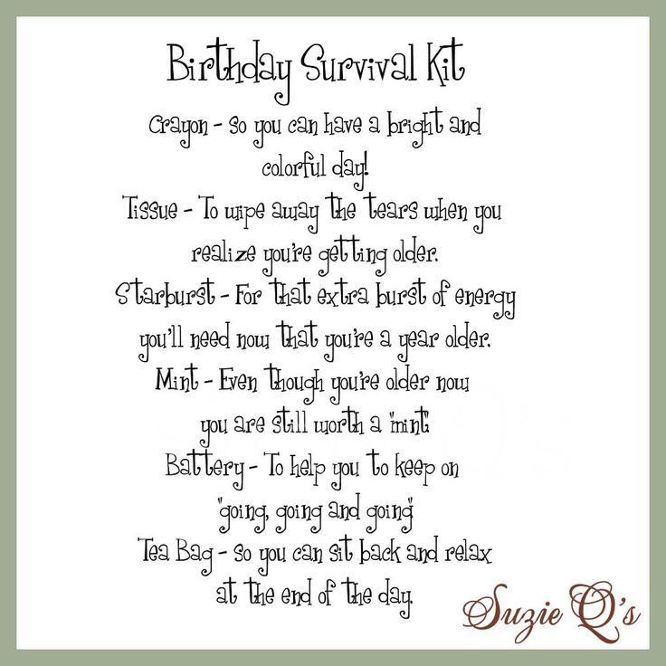 Birthday Survival Kit includes Topper and Card Digital Printable