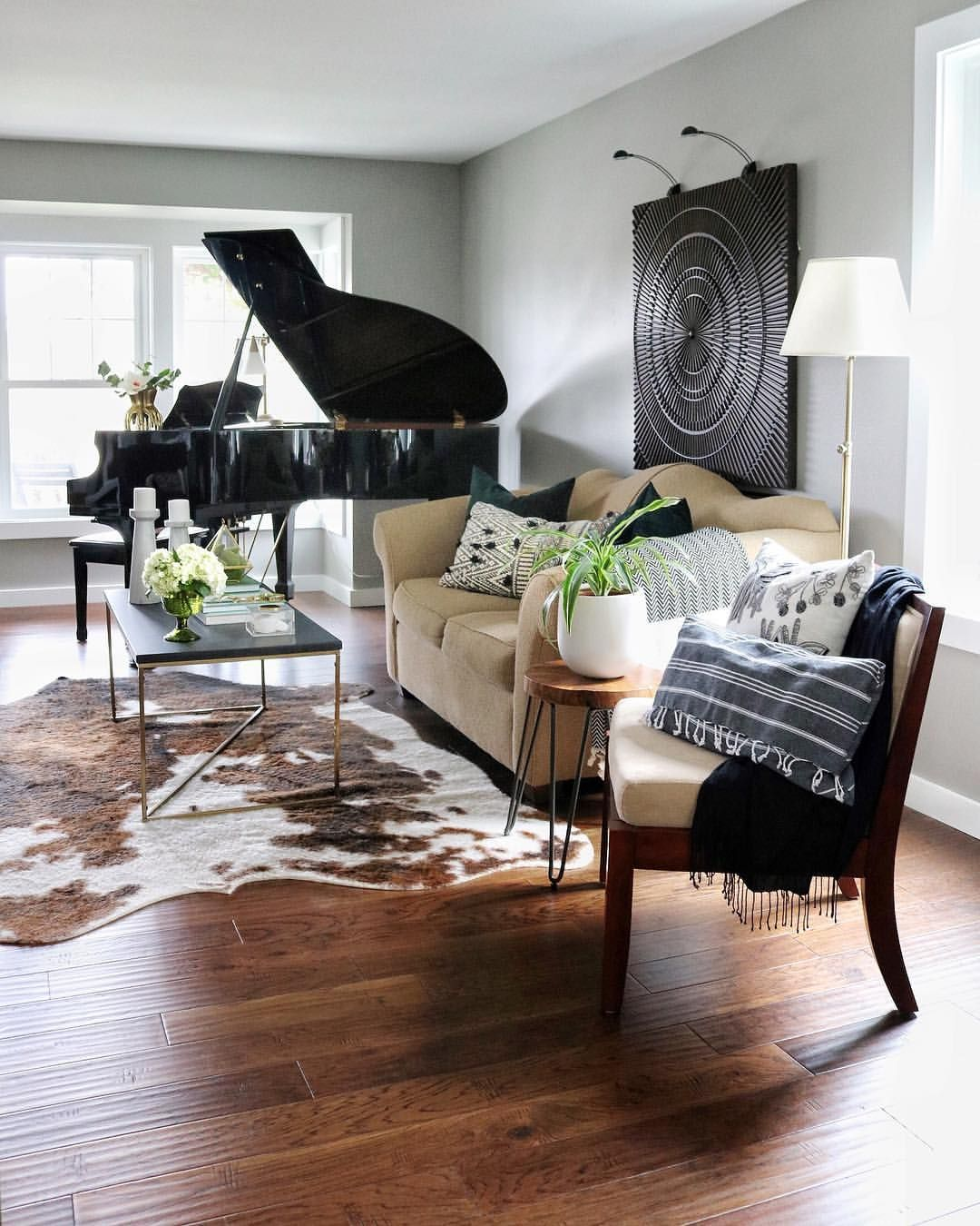 Living Room With Black Grand Piano Faux Cowhide Large Art